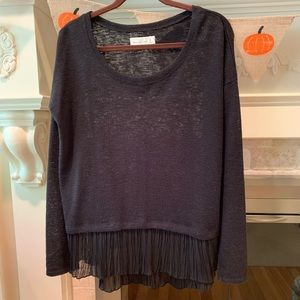 Abercrombie & Fitch Black Sweater with Lace Medium